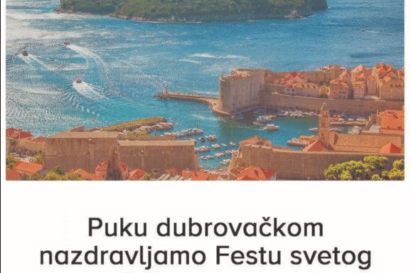 Čestitamo Blagdan svetog Vlaha i Dan grada Dubrovnika